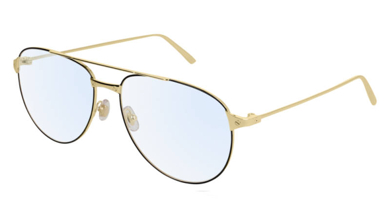Cartier CT0039O-004 Black Gold Transparent Optical | SALE