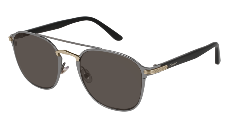 Cartier CT0012S-004 Gold Black Grey Sunglasses