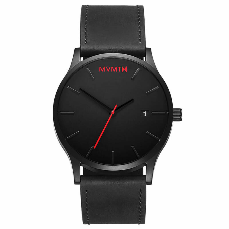 MVMT | Clasic Black Leather | Herenhorloge