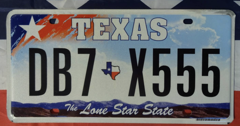 Originele nummerplaat Texas the Lone Star State