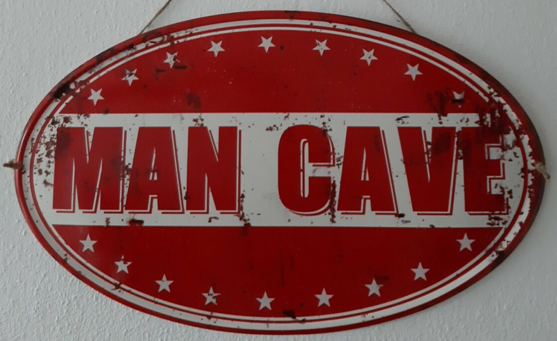 Mancave Toys vintage sign ovaal Man Cave rood wit