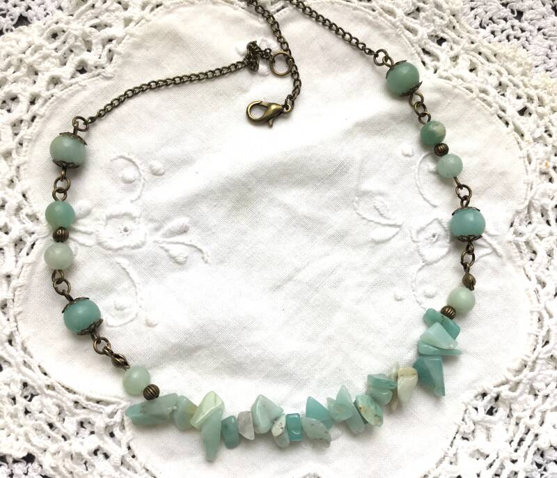 Amazoniet gemstone chips ketting