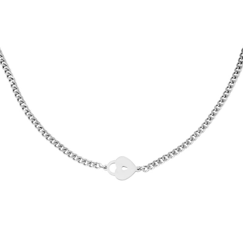 Locked heart silver necklace