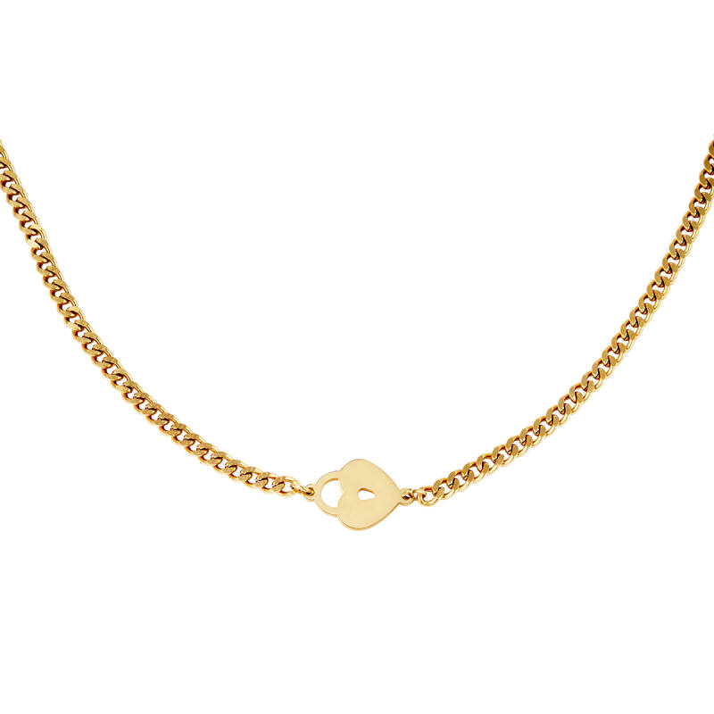 Locked heart gold necklace