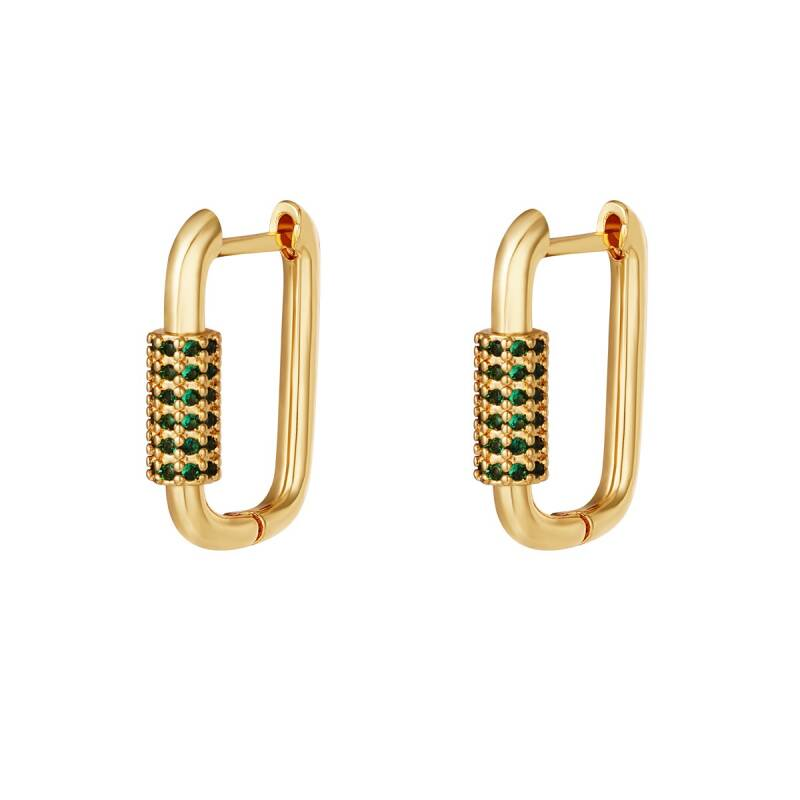 Sparkling square earring green