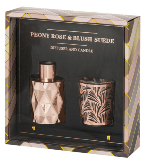 Riverdale giftset diffuser & candle   Peony Rose en Blush Suede