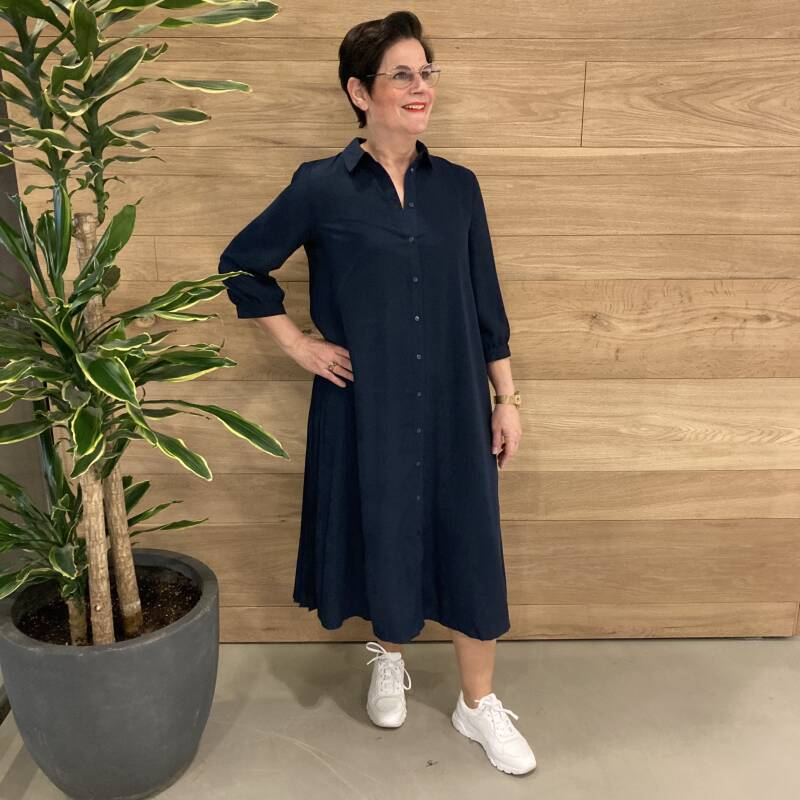 Vero Moda Cara 3/4 Calf Shirt Dress Donkerblauw