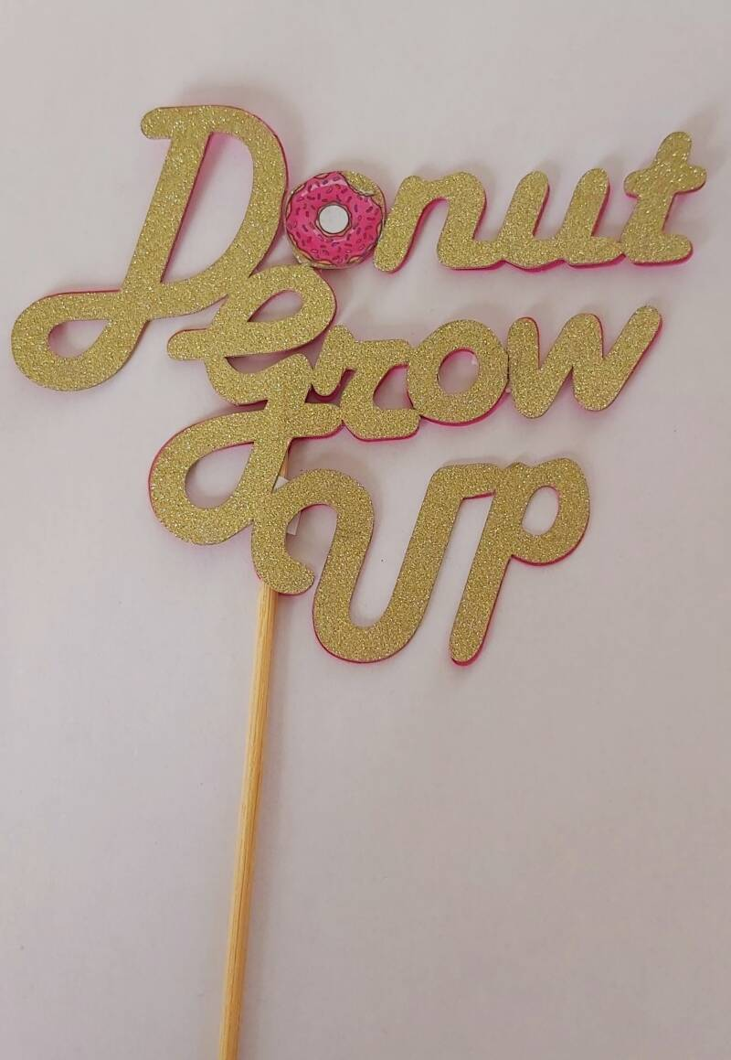 Topper 15 cm breed Donut Grow Up glitter karton cameo