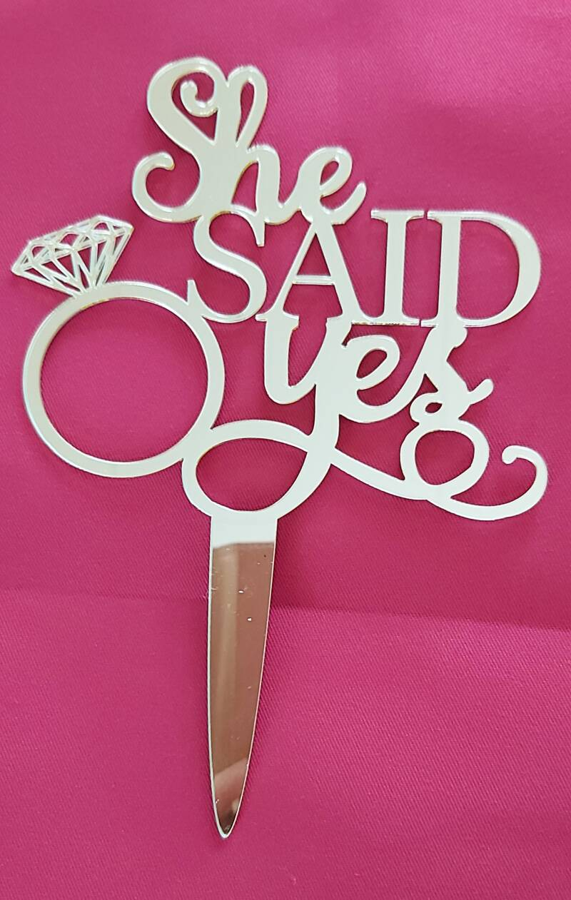 Topper She Said Yes spiegel goud 17,5 cm