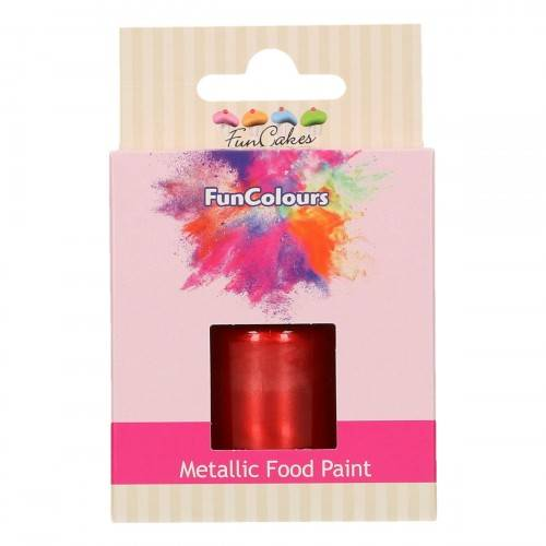 Funcakes Funcolours Metallic food paint Rood 30 ml