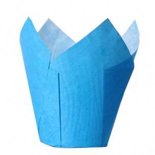House of Marie Muffin Cups Tulp Blauw pk/36