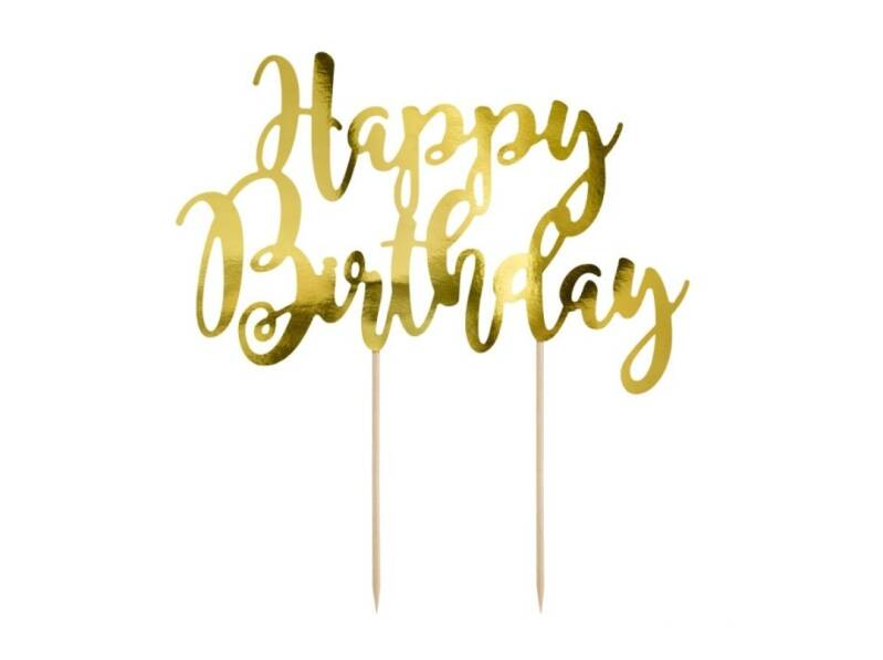 PartyDeco cake topper Happy Birthday goud