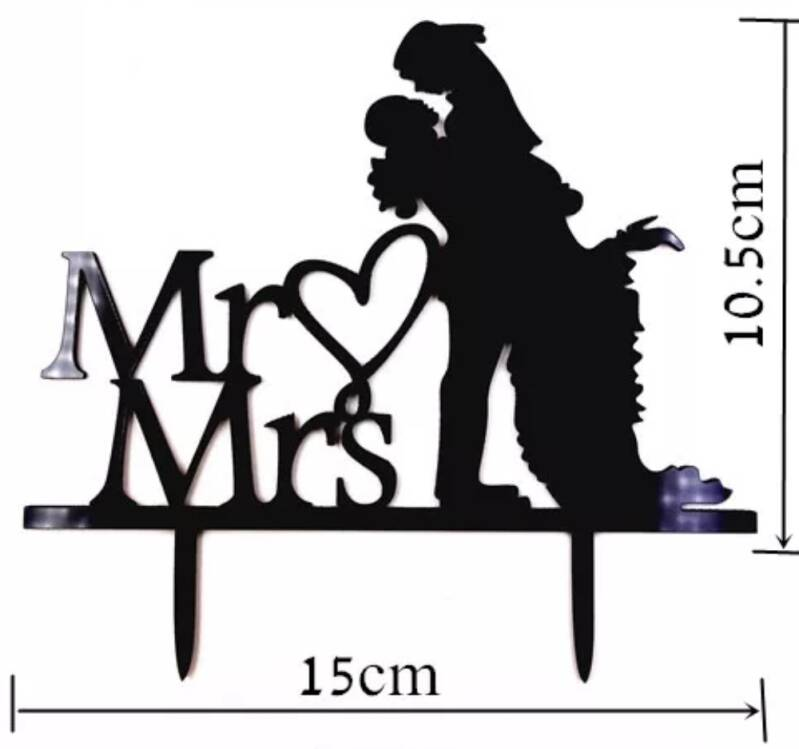Mr & Mrs kussend topper acryl zwart