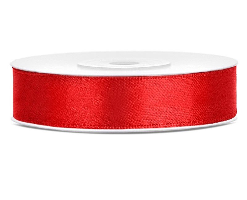 Satijn lint rood 12 mm breed