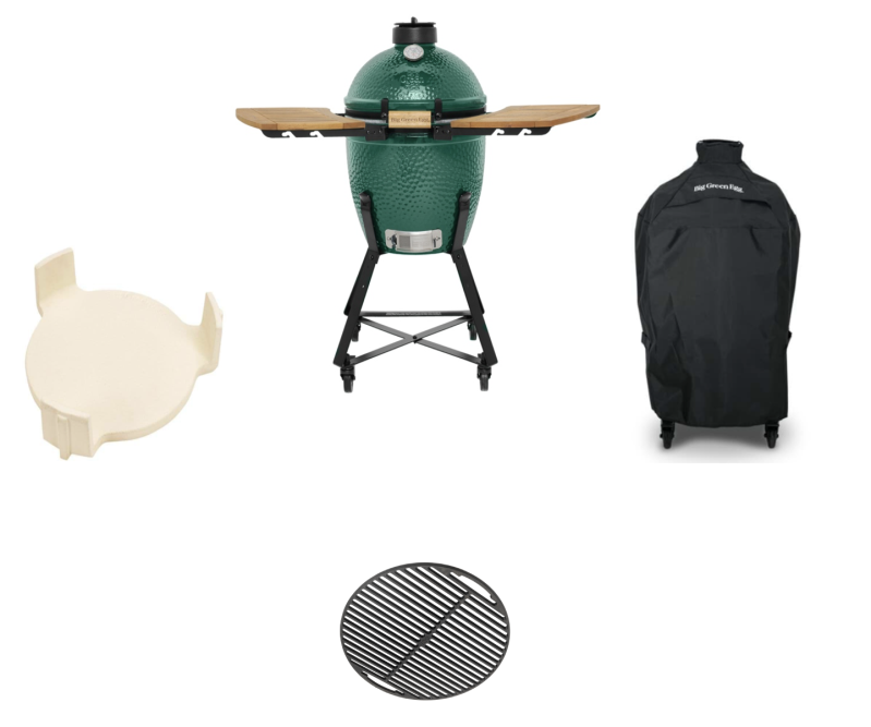 Big Green Egg Small + Nest + Zijplankjes (acacia hout) + Hoes + Conveggtor + Gietijzer rooster