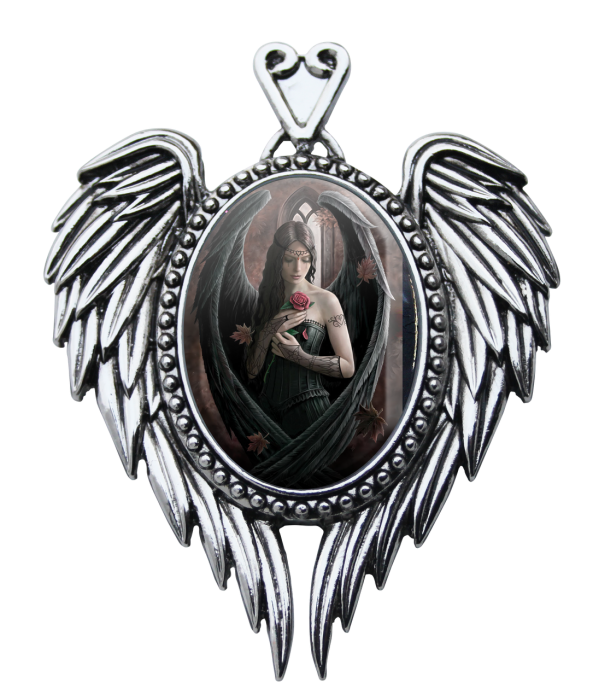 Anne Stokes cameo necklace -Angel rose-
