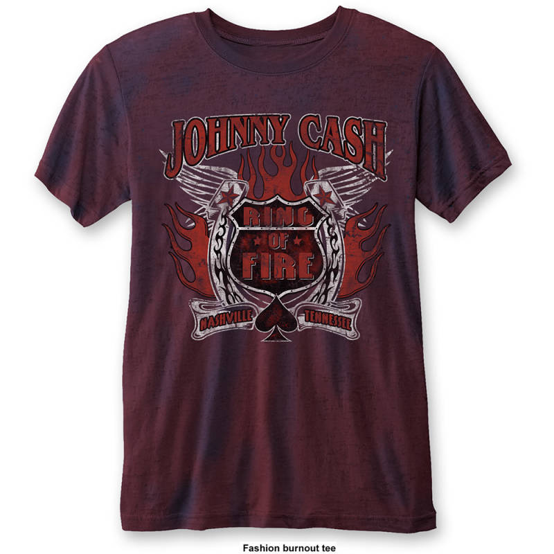 Johnny Cash ring of fire navy/red t-shirt