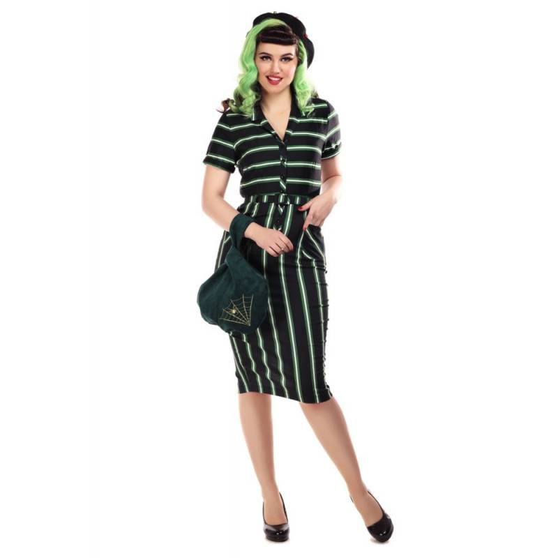 Collectif Mainline Caterina witch stripes pencil dress