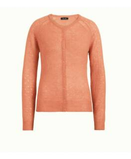 King Louie cardigan roundneck fluffy, red coral
