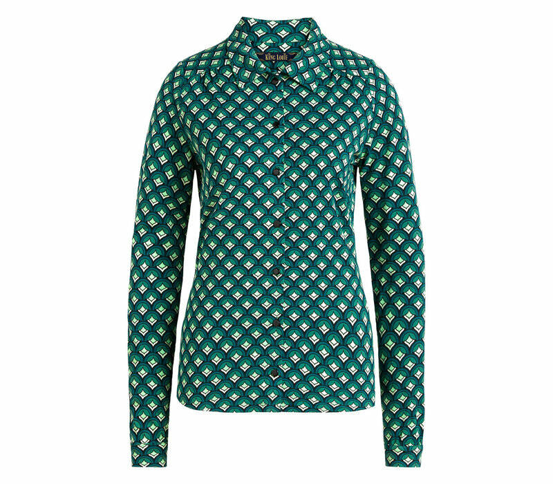 King Louie blouse pose, dragon fly green