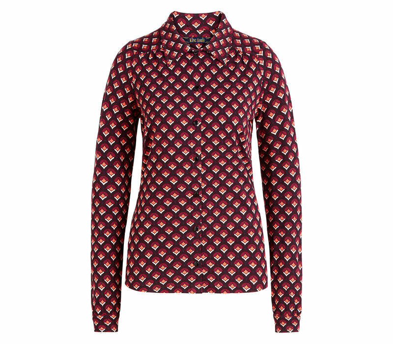 King Louie blouse pose, grape red