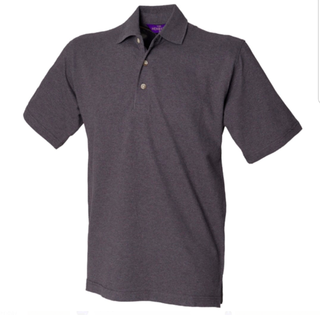 Heren polo Henbury cotton charcoal incl bedrukking 1 kleur