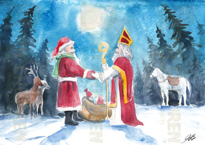 Original - Santa meeting Saint Nicholas