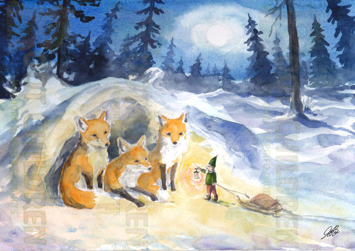 Cards - Foxes and Tomte