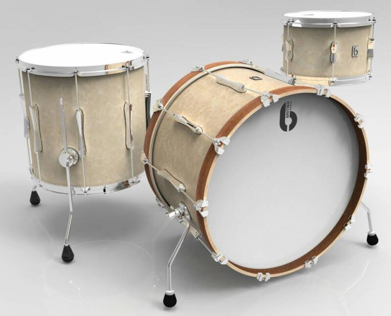 British Drum Co, Lounge Club 24 Wiltshire White drumset