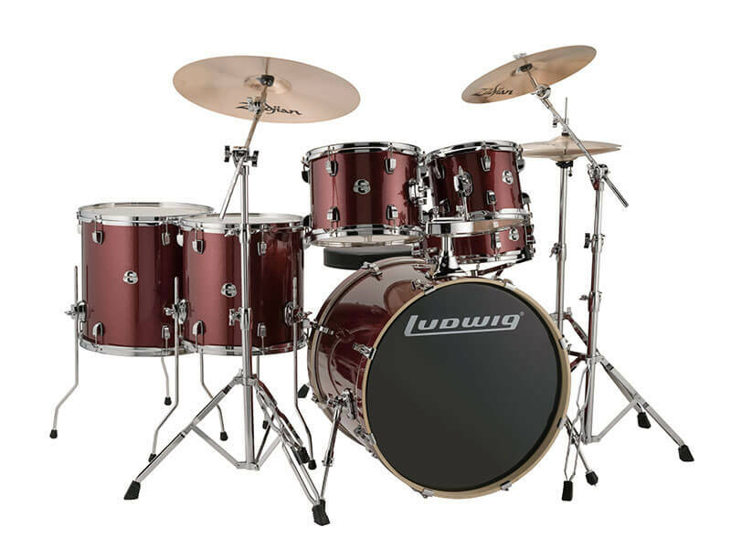 Ludwig Evolution, Red Wine Sparkle 6 piece 22 inch