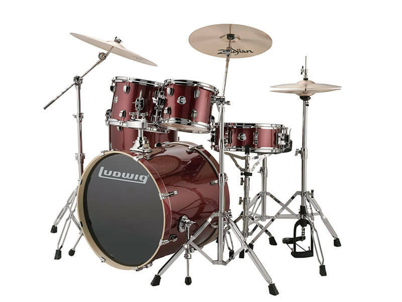 Ludwig Evolution, Red Wine Sparkle 5 piece 22 inch