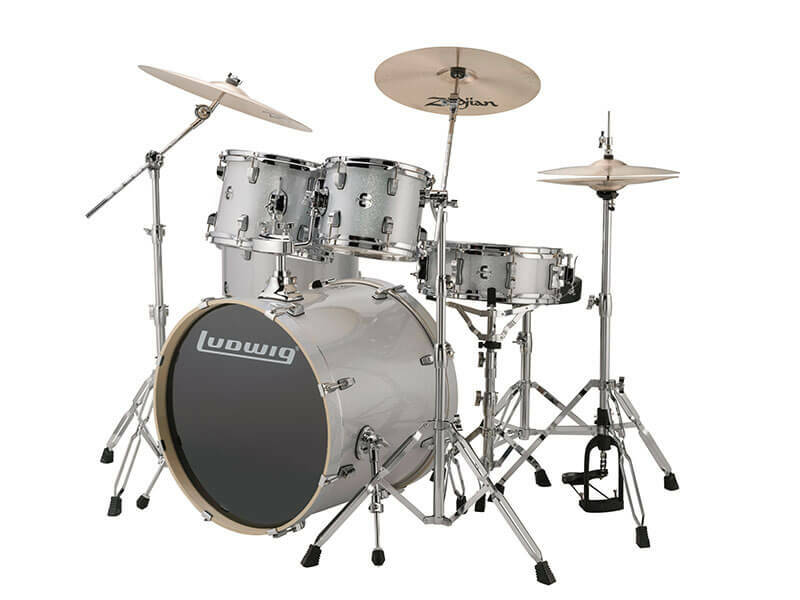 Ludwig Evolution, Silver White Sparkle 5 piece 22 inch