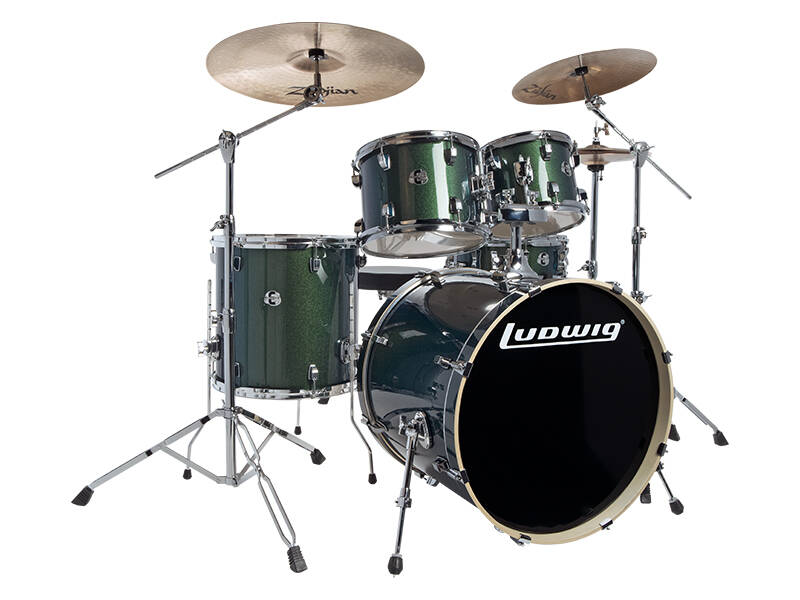 Ludwig Evolution, Emerald Sparkle 5 piece 22 inch