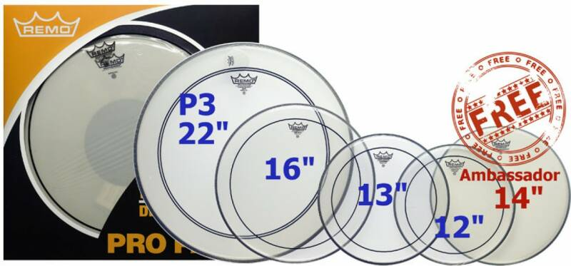 "Remo ProPack 12"", 13"", 16"" Pinstripe Clear + 22"" P3 Ambassador Clear met Clear dot + 14"" Ambassador Coated."