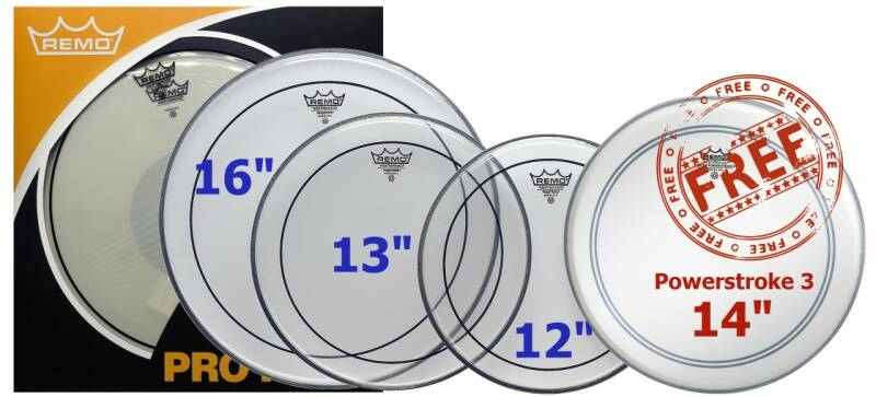 """Remo ProPack 12"""", 13"""", 16"""" Pinstripe Clear + Free 14"""" Ambassador Powerstroke 3 Coated"""