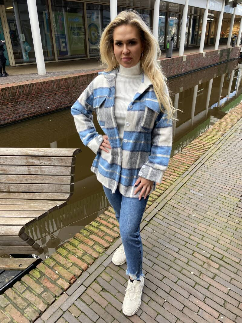 Houthakkers jas blauw wit