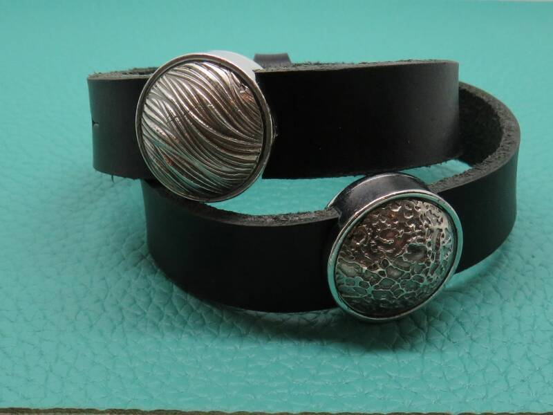 Double Black Leather Bracelet
