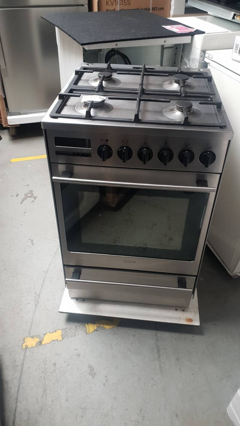 ATAG Gasfornuis Roest vrij staal 4 pits 54cm breed Mét hete lucht oven
