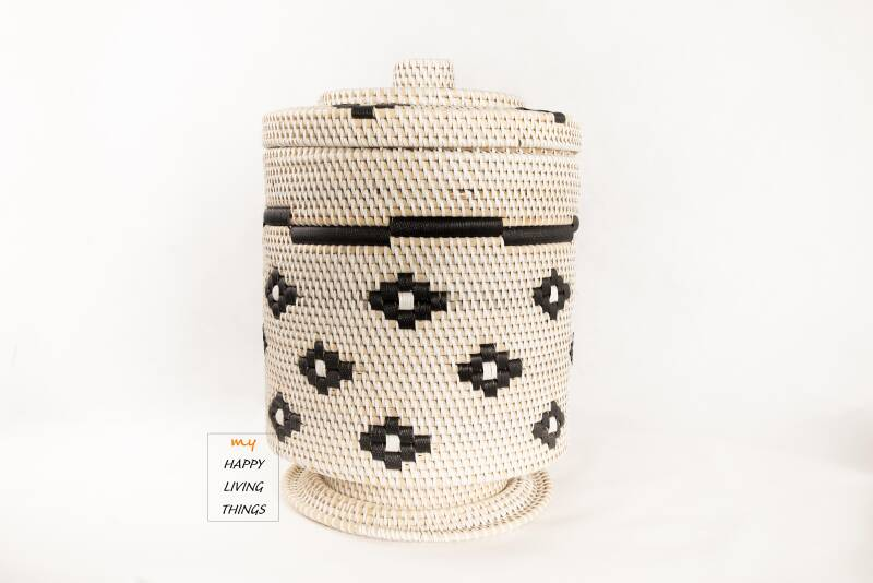 Basket rattan MAXI white/black, little star with hood