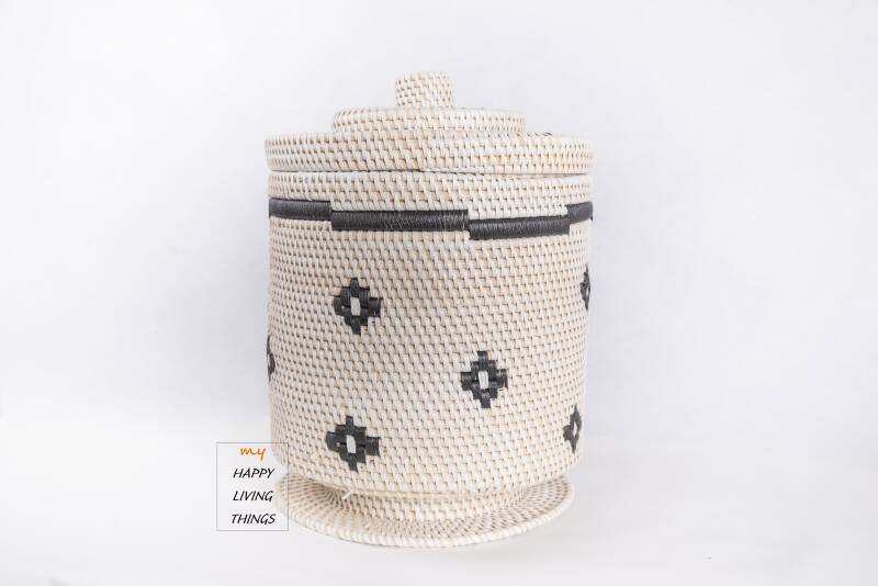 Basket rattan MIDI white/black, little star with hood