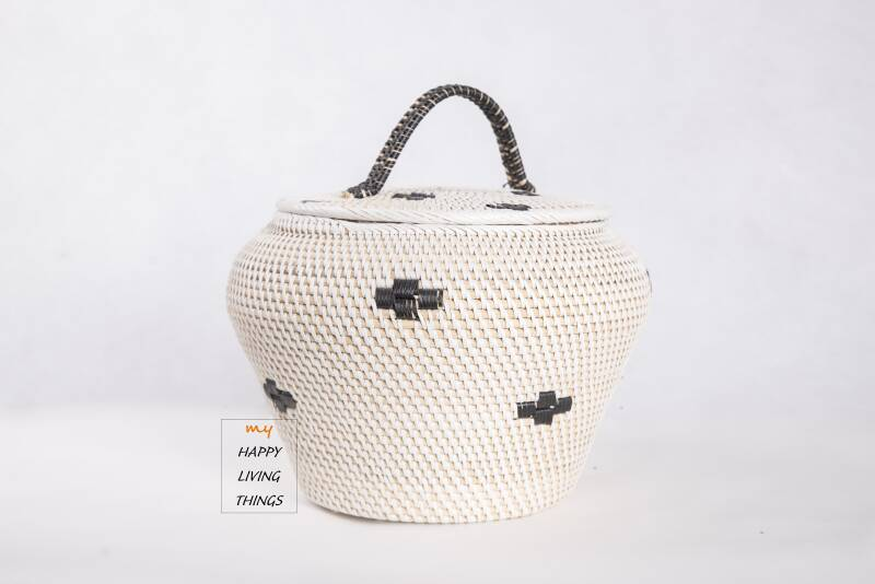 Basket rattan white/black little star with flat hood