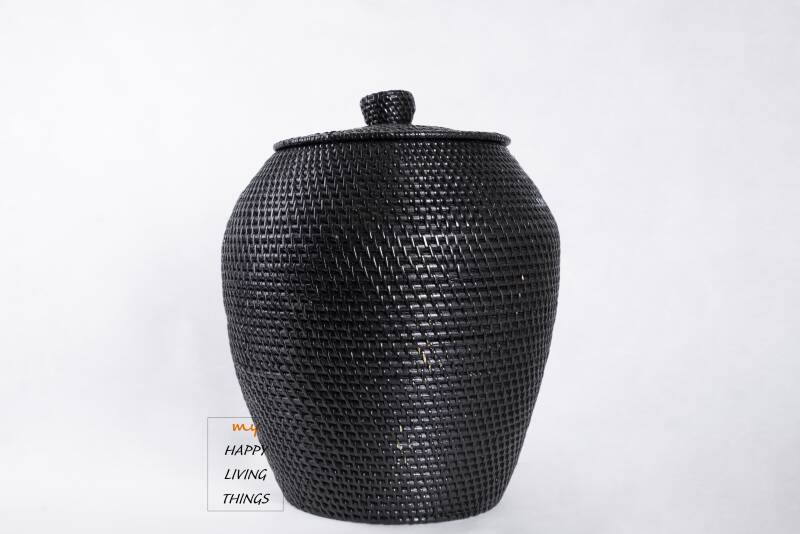 Basket rattan XL black