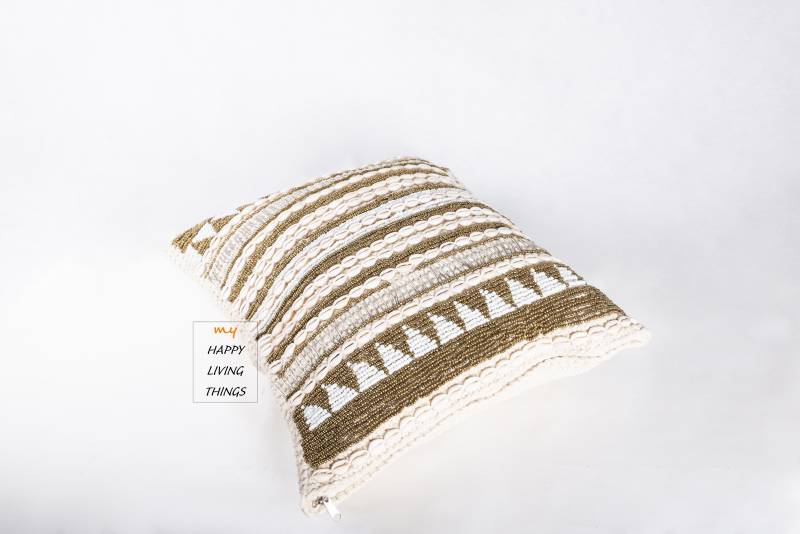 Cushion cover luxe 50x50, Gold/White