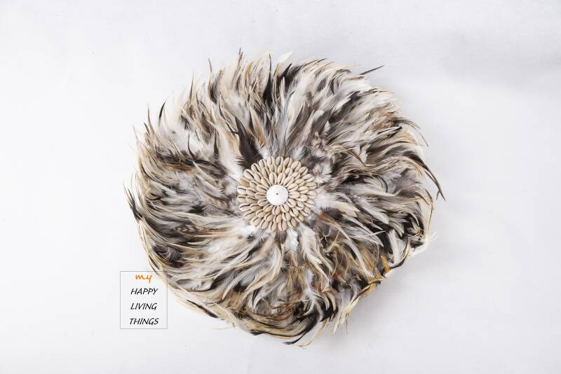 Feather - Juju Round - chicken feathers With Shells Brown - S