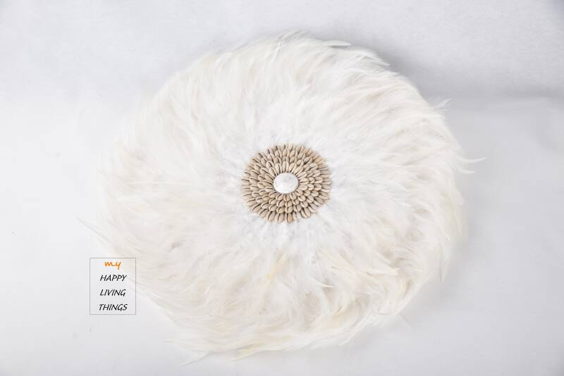 Feather - Juju Round - chicken feathers With Shells : White - M