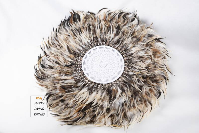 Feather - Juju Round - chicken feathers With Shells And Crochet brown -XL