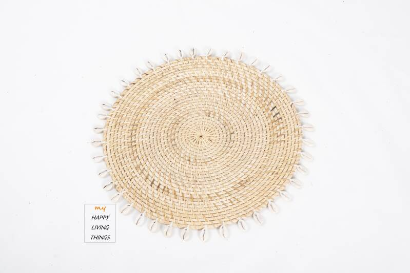 Woven Rattan/shell Placemat Natural