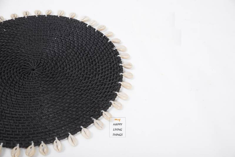 Rattan/shell coaster Black