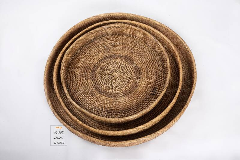 Rattan Tray brown Large set of 3