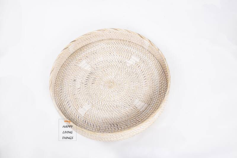 Rattan Tray (Natural/white patine)  set of 3